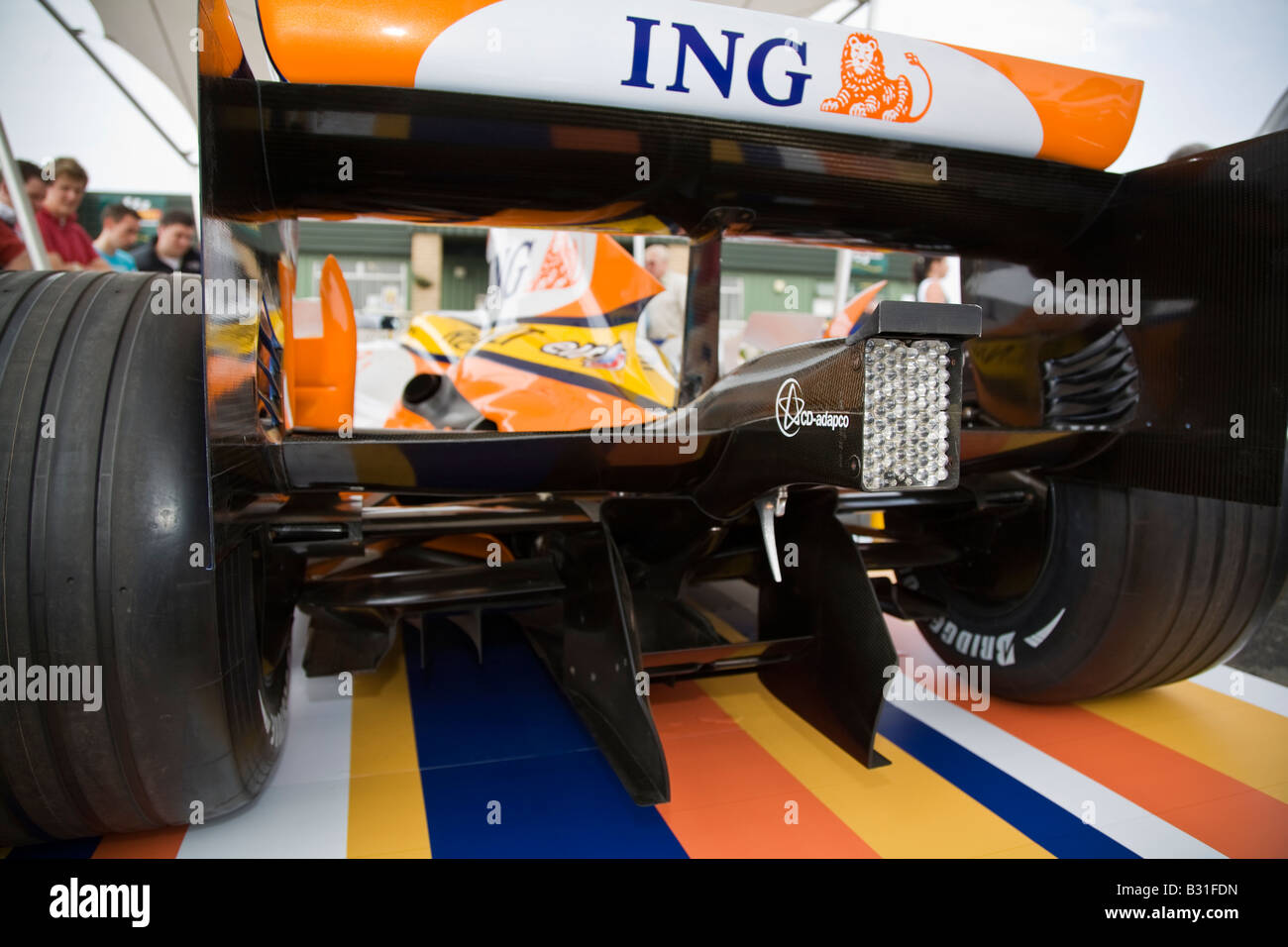 Renault Elf R28 Formula 1 One car rear wing and rain light - Stock Image