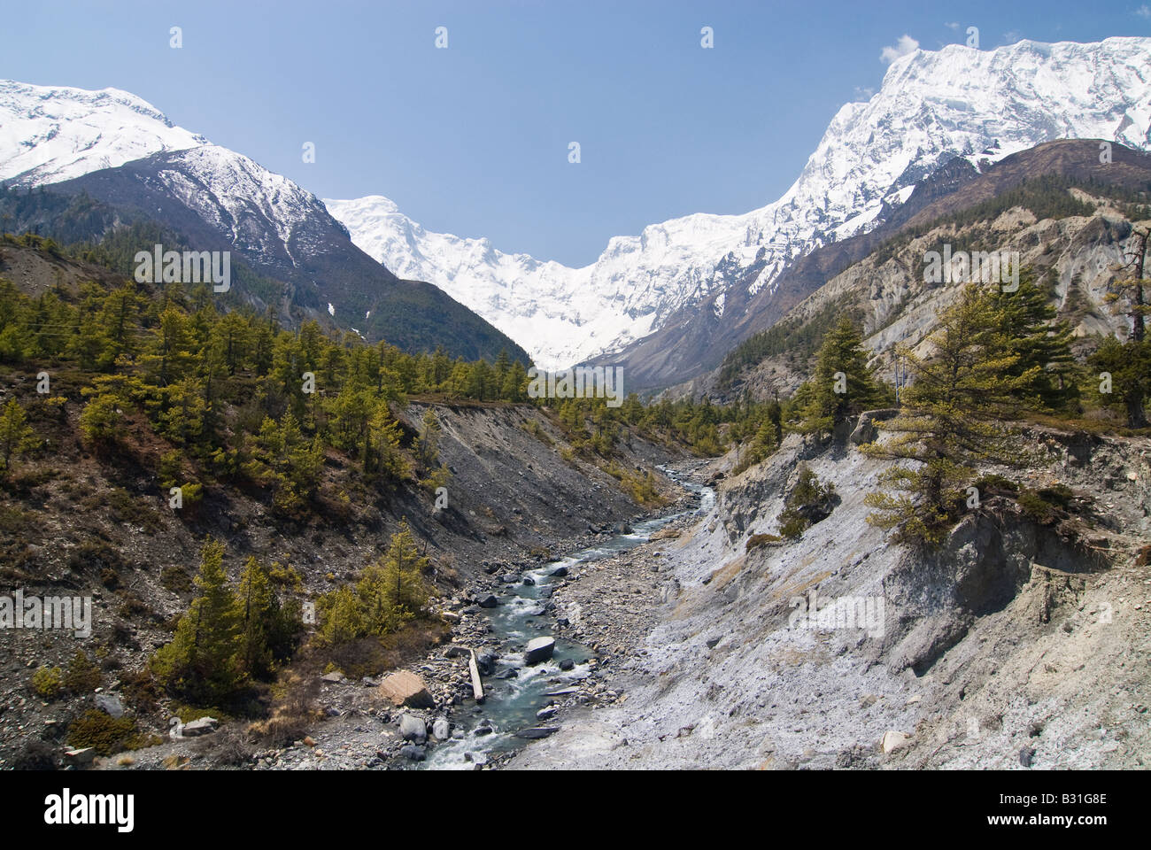 Manang Valley, Annapurna Mountains, Nepal - Stock Image