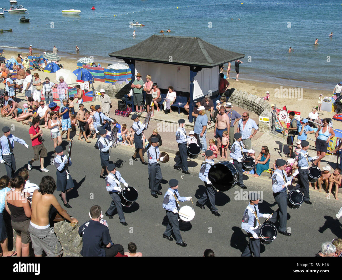 Air Training Corps (ATC) marching band during the opening procession of Swanage Carnival Week, 27th July 2008. - Stock Image