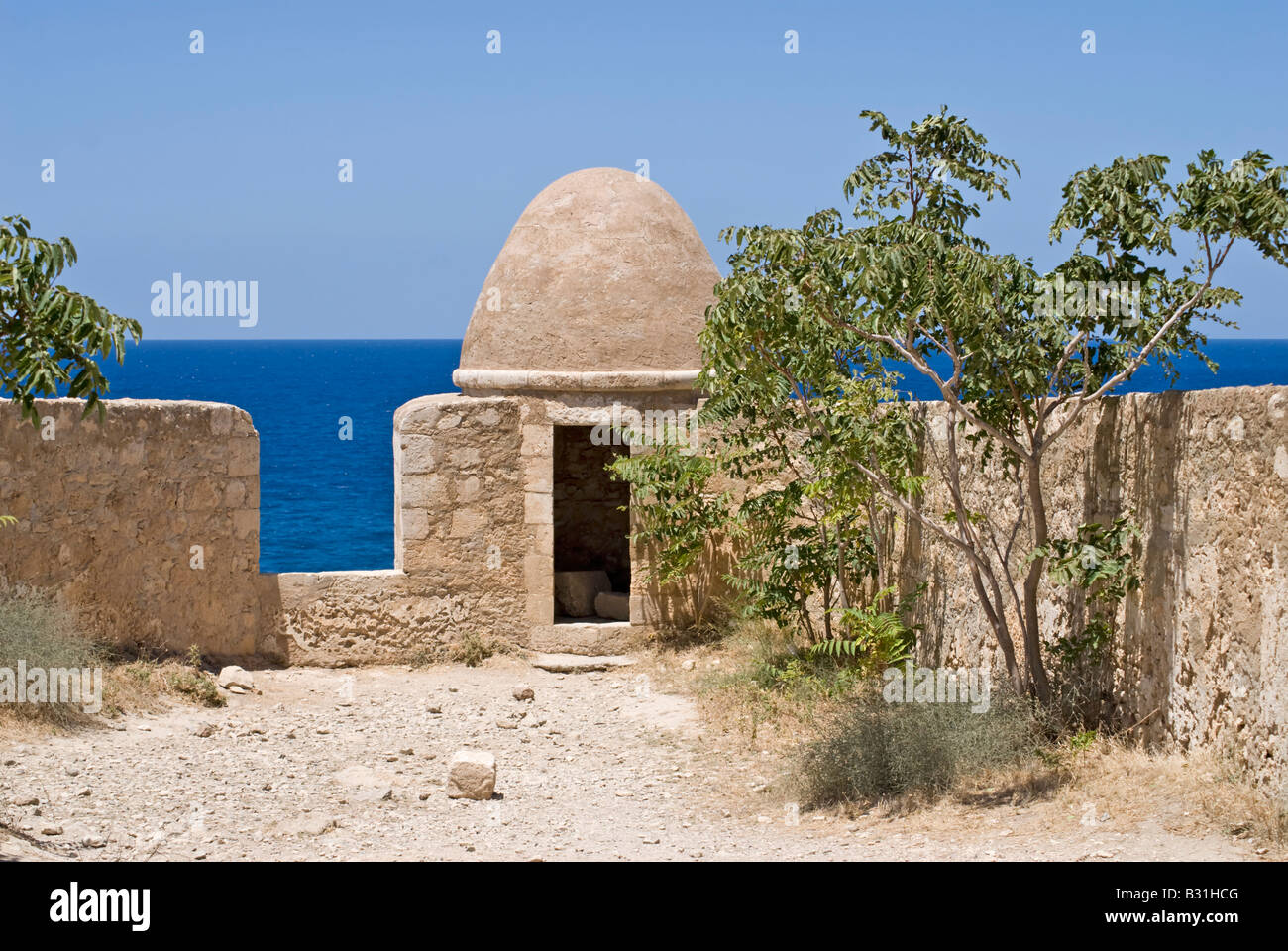 Rethymno, Crete, Greece. Fortress (Phrourion or Fortezza - 16thC) Domed Mosque Stock Photo