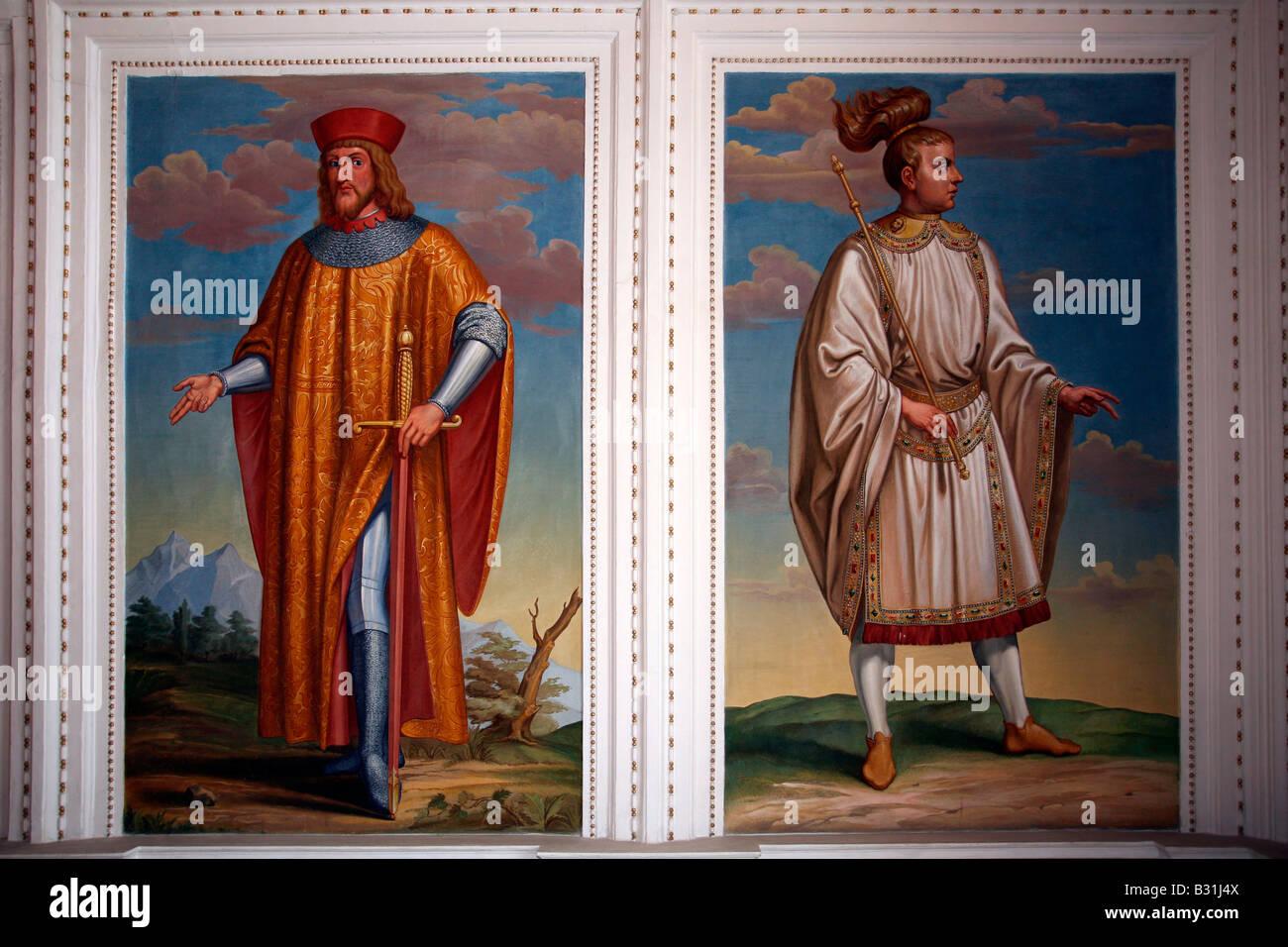 Innsbruck: Schloss Ambras: Spanish Hall: Paintings - Stock Image