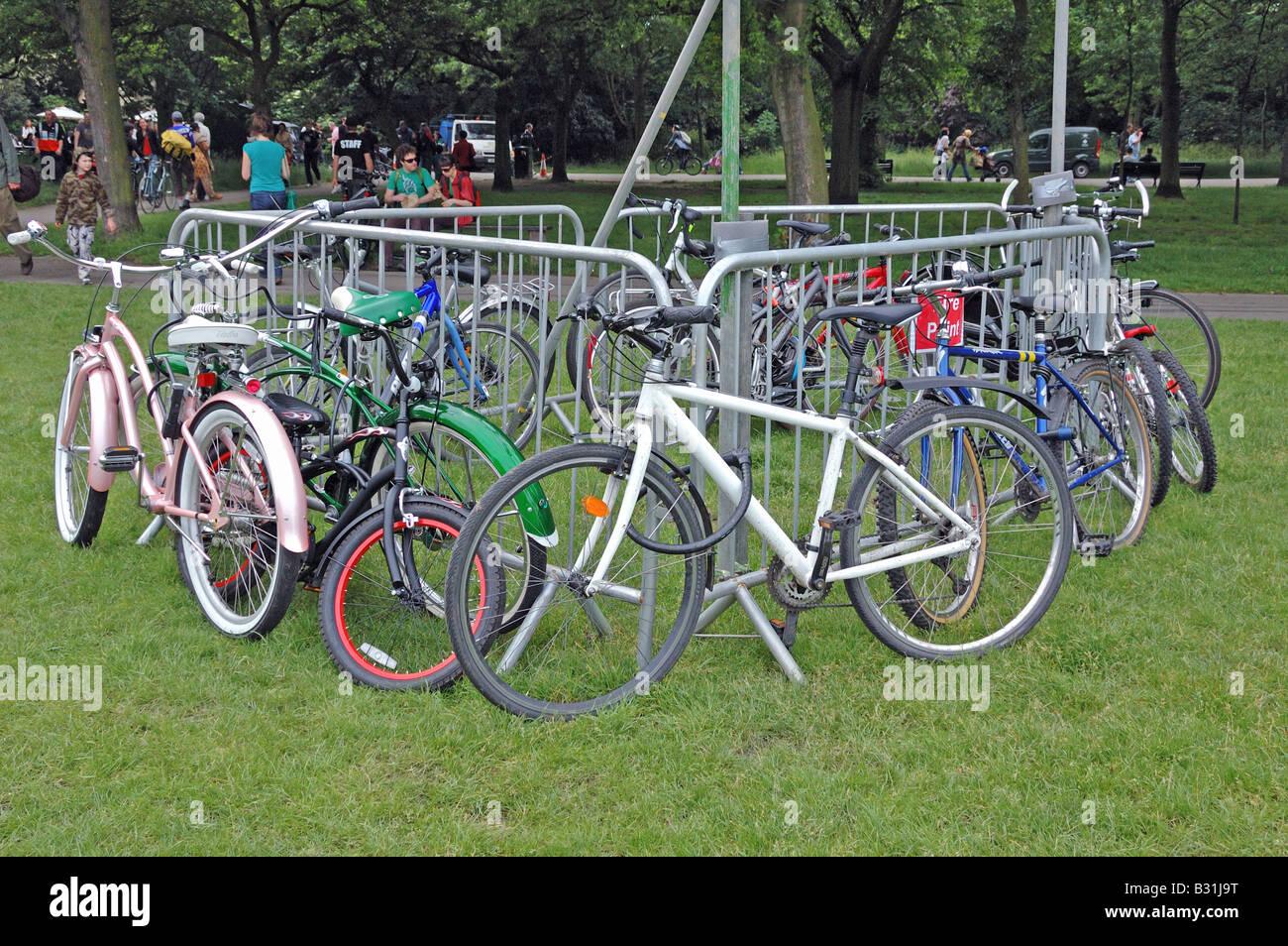 Cycle park at Camden Green Fair London England UK Stock Photo