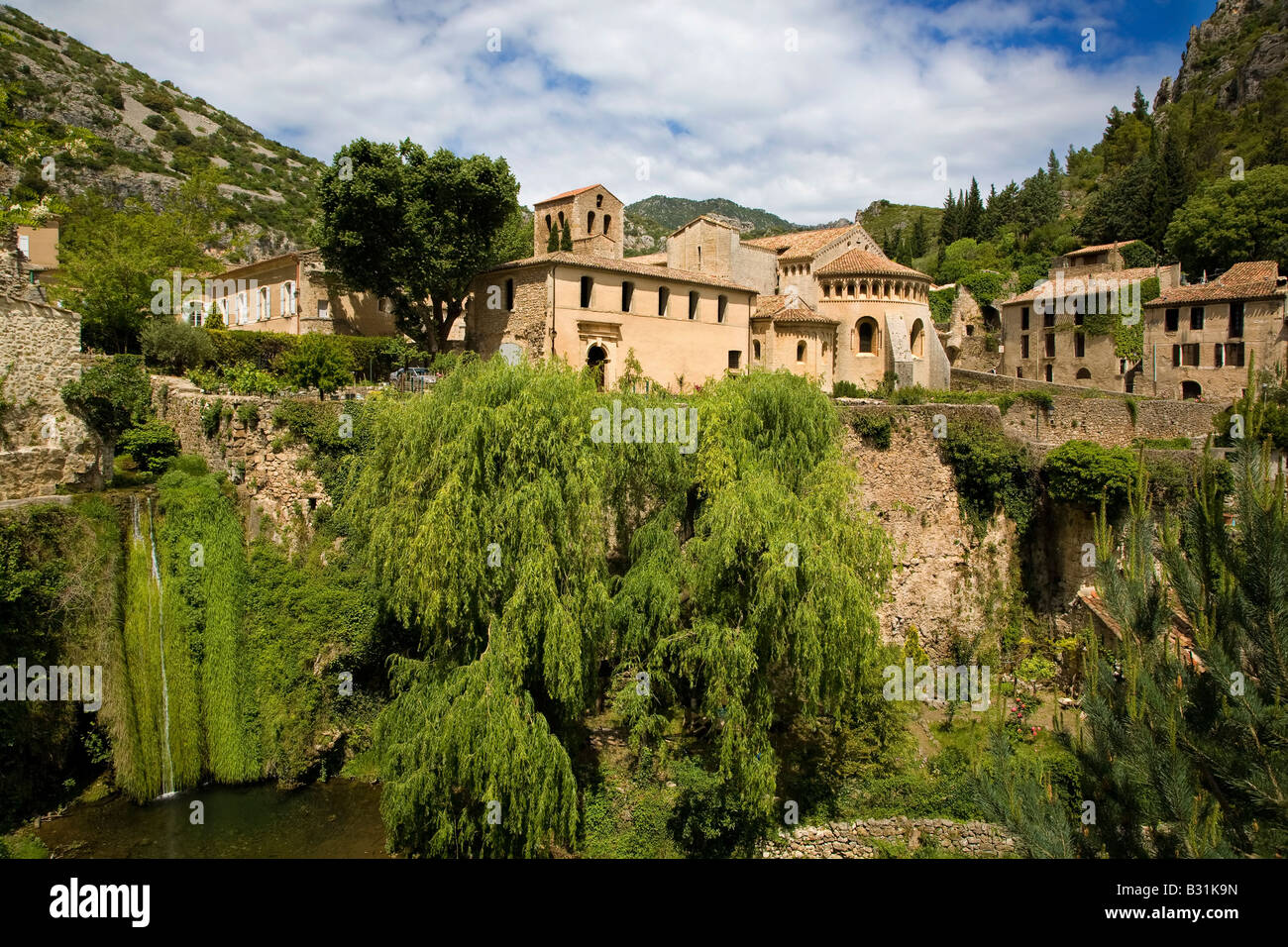 Village and Abbey of Gellone 806 AD, St Guilhem le Desert, on the pilgrimage route to  Santiago de Compostella in - Stock Image