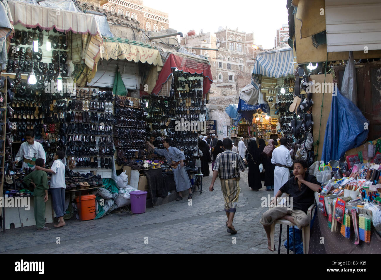 A Dusk scene from the market in the Old City of Sana a capital of Yemen - Stock Image