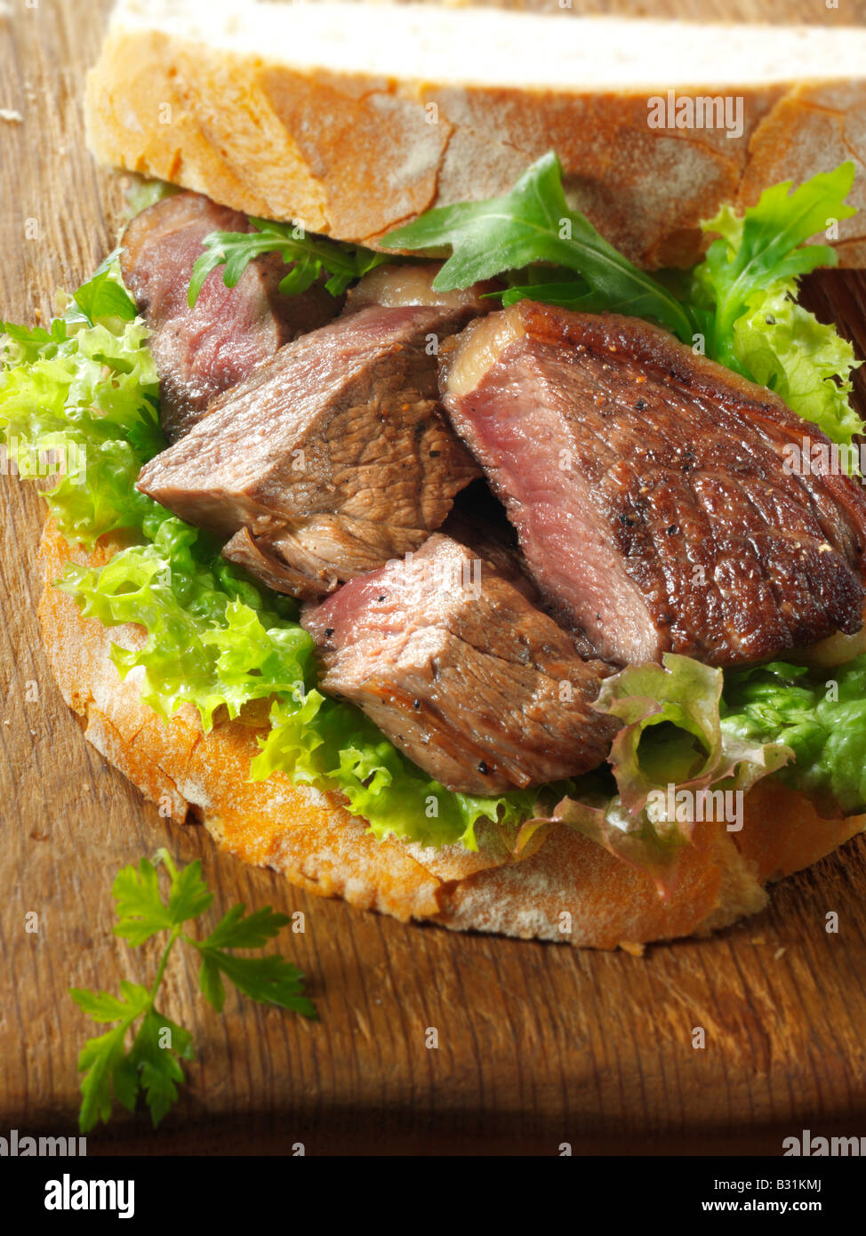 sirloin beef steak sandwich with salad Stock Photo