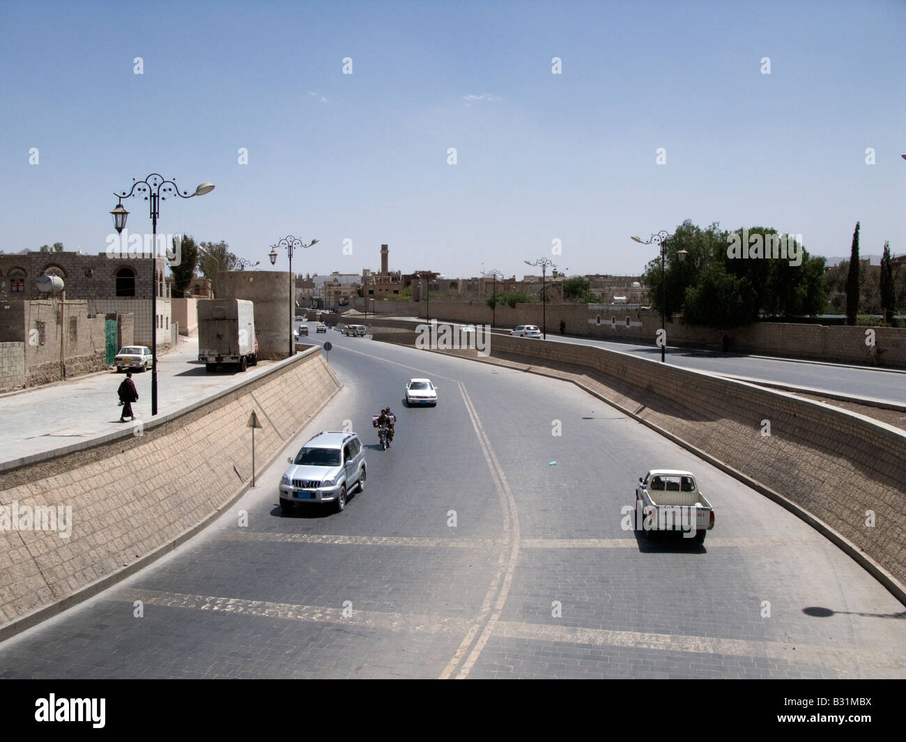 The Saila river with its paved riverbed in Sanaa, Yemen - Stock Image