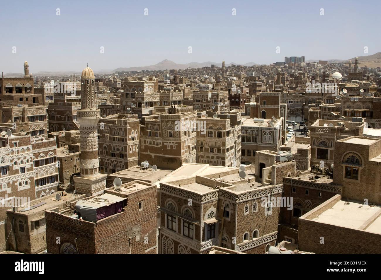Sanaa the ancient capital city of Yemen - Stock Image