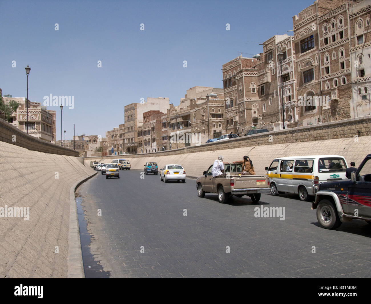 The paved Saila river bed, Sanaa, Yemen Stock Photo