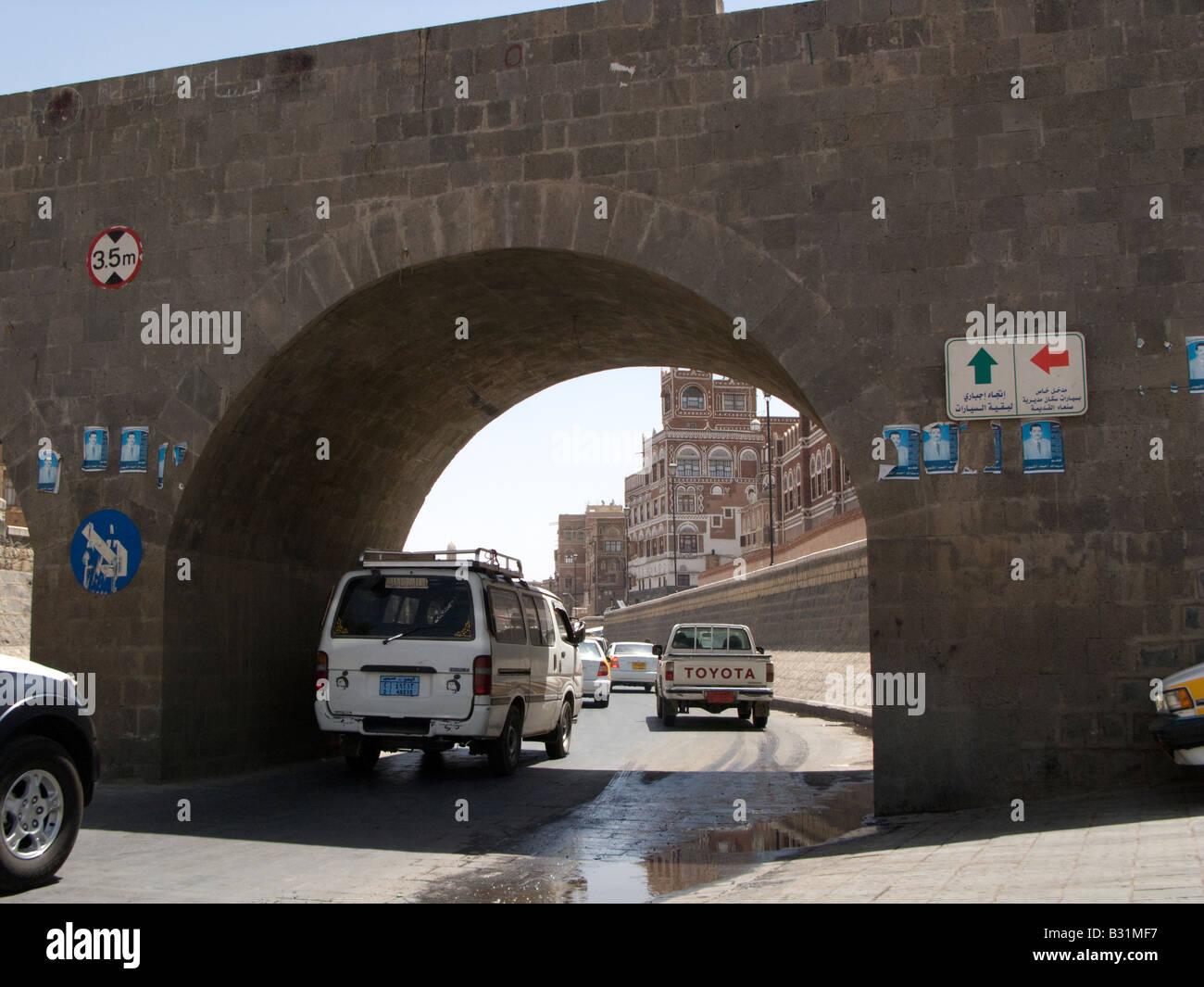 The paved Saila river bed, Sanaa, Yemen - Stock Image