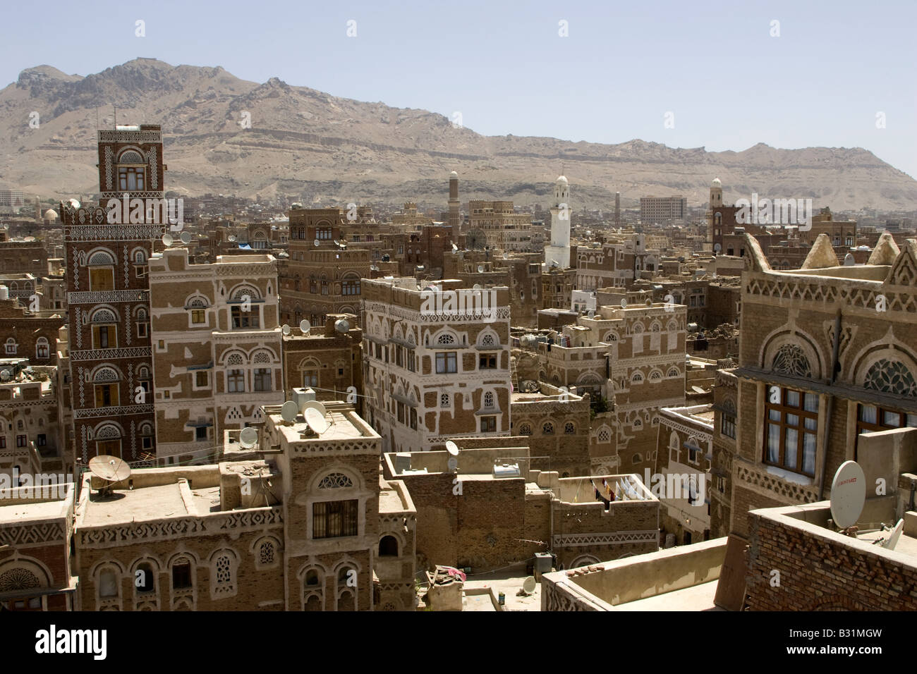 The ancient capital city of Yemen Sanaa - Stock Image