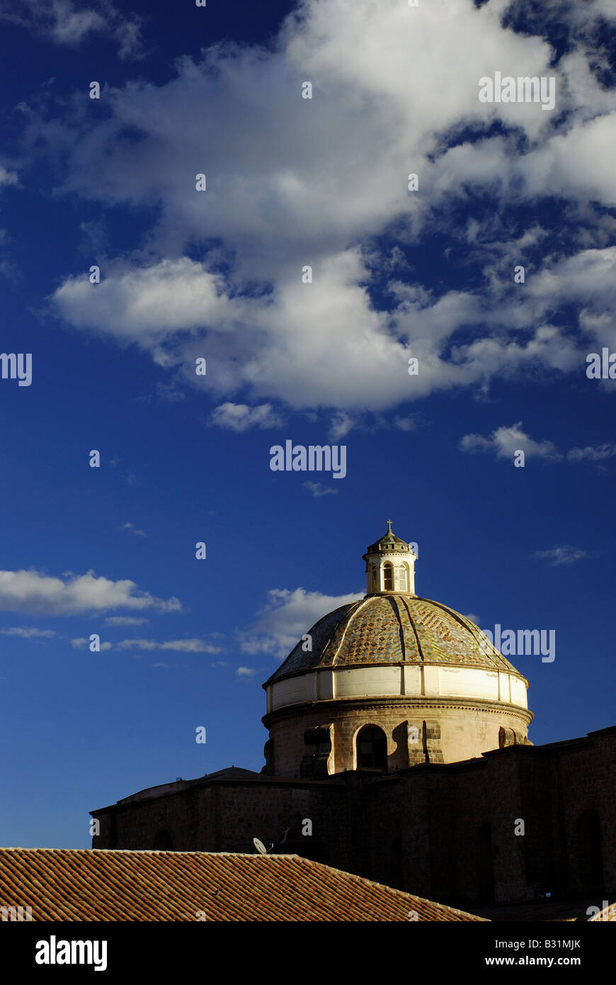 Peru, Iglesia de la Compania de Jesus, church built by the Jesuits in 1571 with baroque facade in Cuzco - Stock Image
