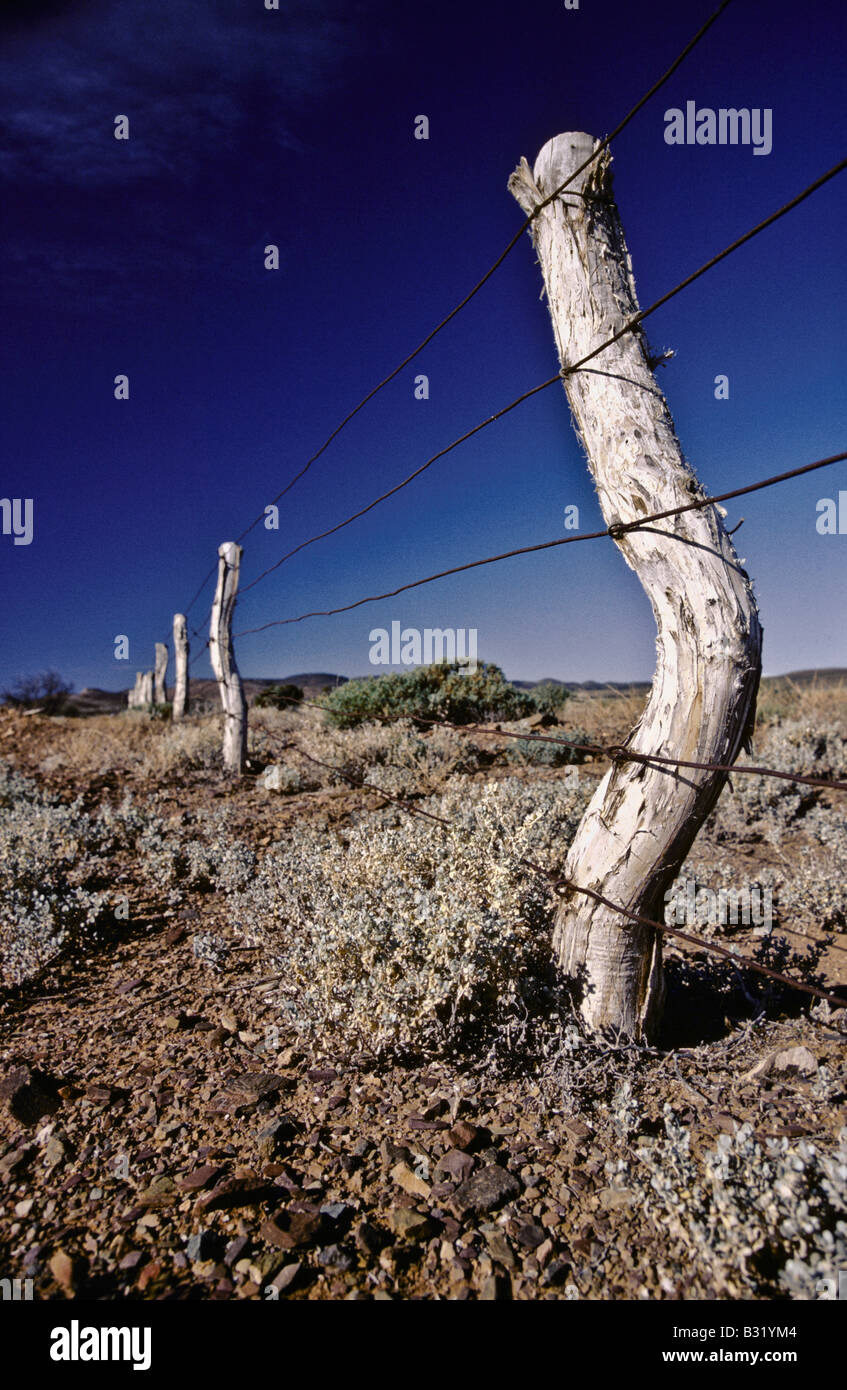 Outback fence post, Australia - Stock Image