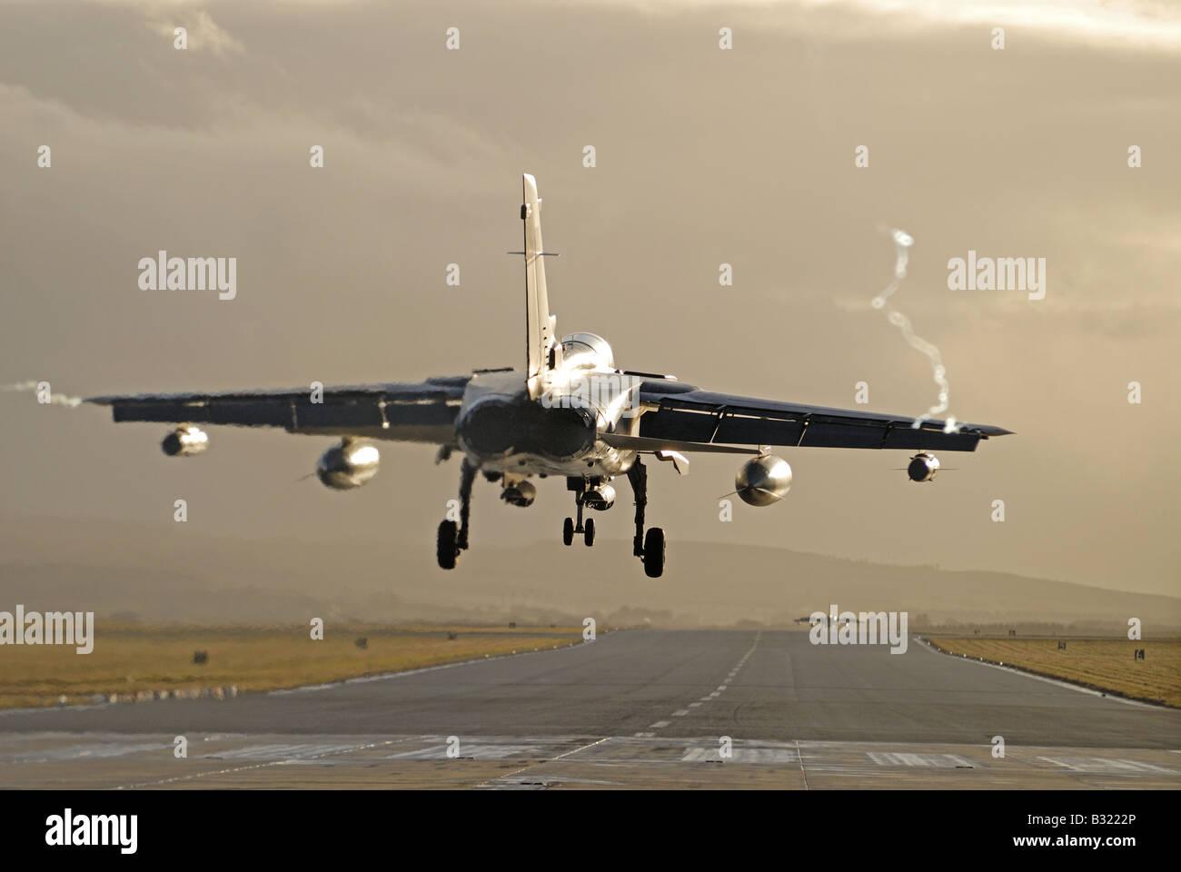F4 Panavia Tornado on Runway Approach at RAF Lossiemouth Moray Scotland - Stock Image