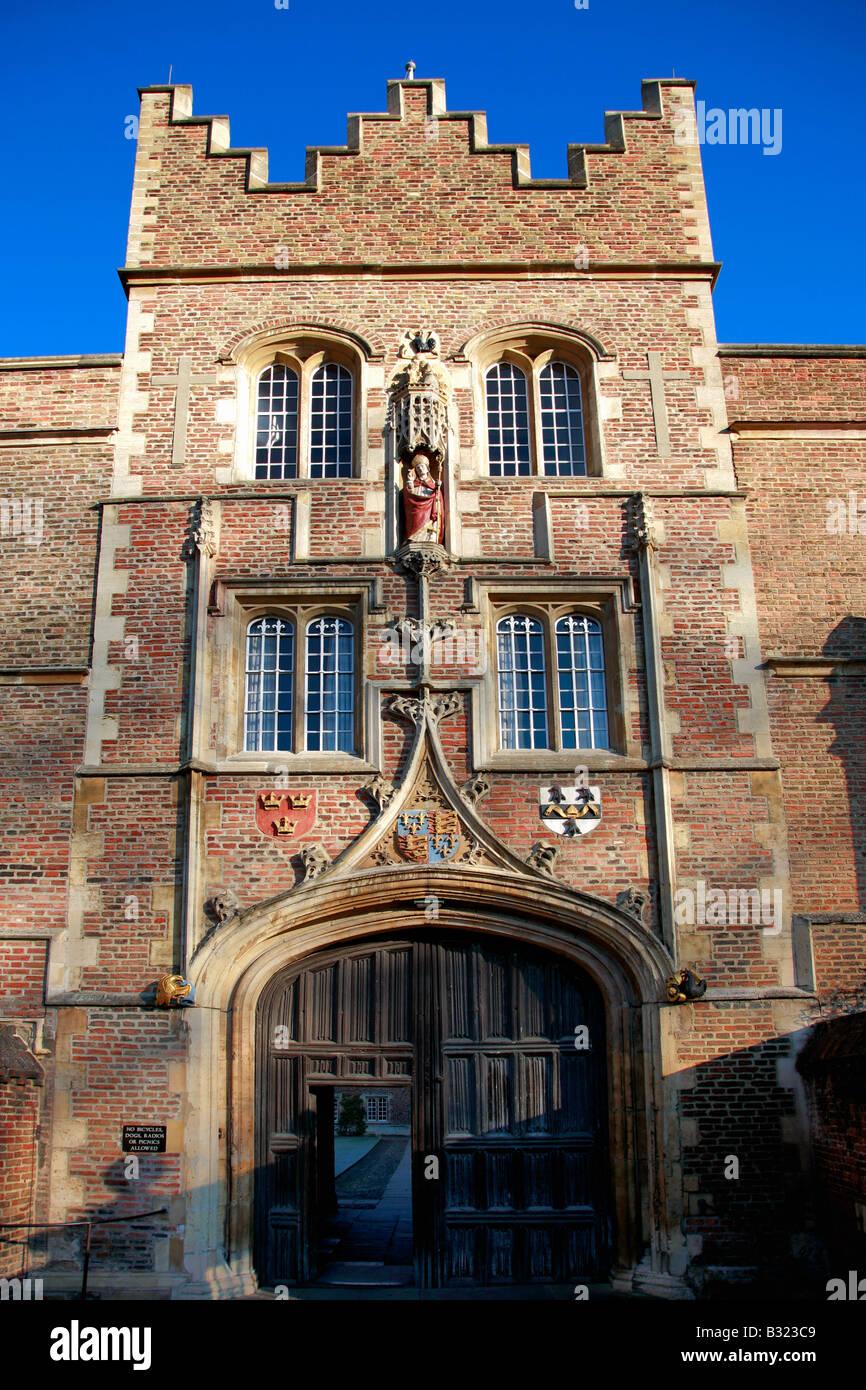Jesus College entrance gate University of Cambridge City Cambridgeshire England Britain UK - Stock Image