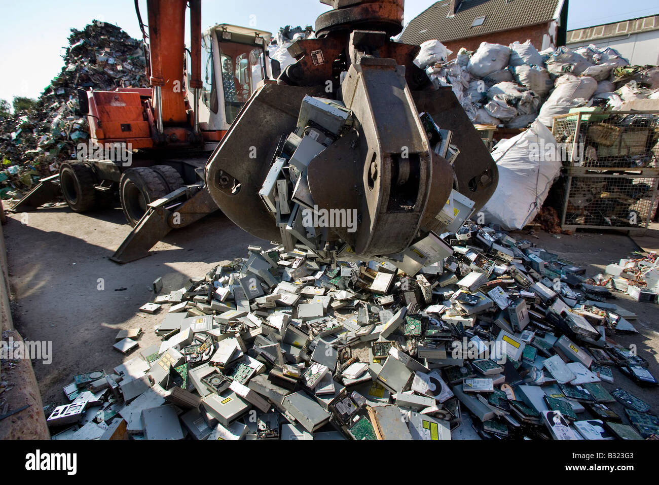 Computer Scrap Stock Photos Images Alamy It Hard Drive Recycling Circuit Board Old Harddrives On A Depot Image
