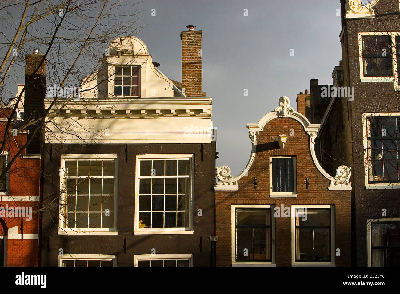 Typical Amsterdam gable ended houses - Stock Image