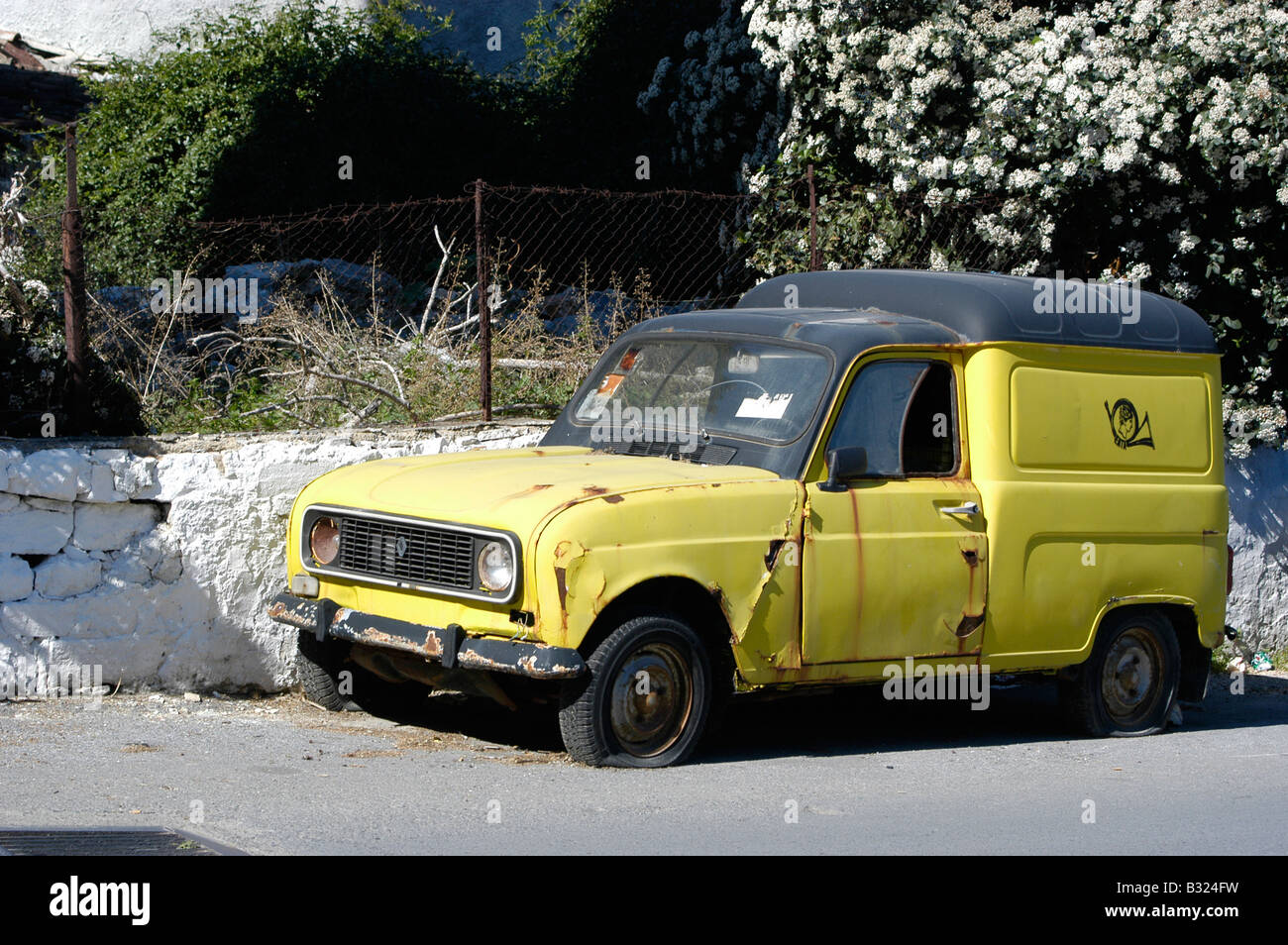 Old renault car from the greek ELTA post. - Stock Image