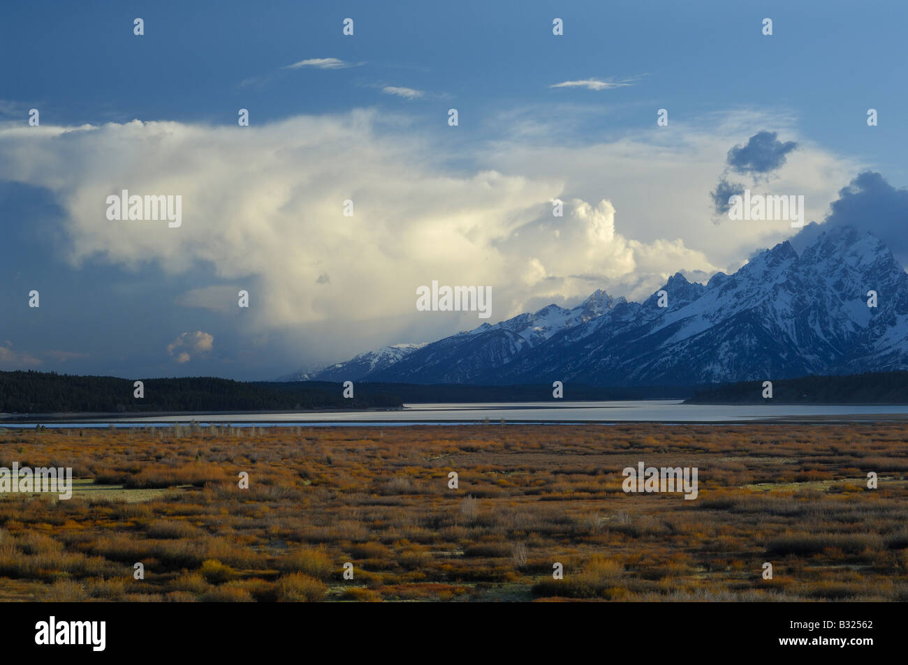 Storm clouds at sunset in the Grand Tetons - Stock Image