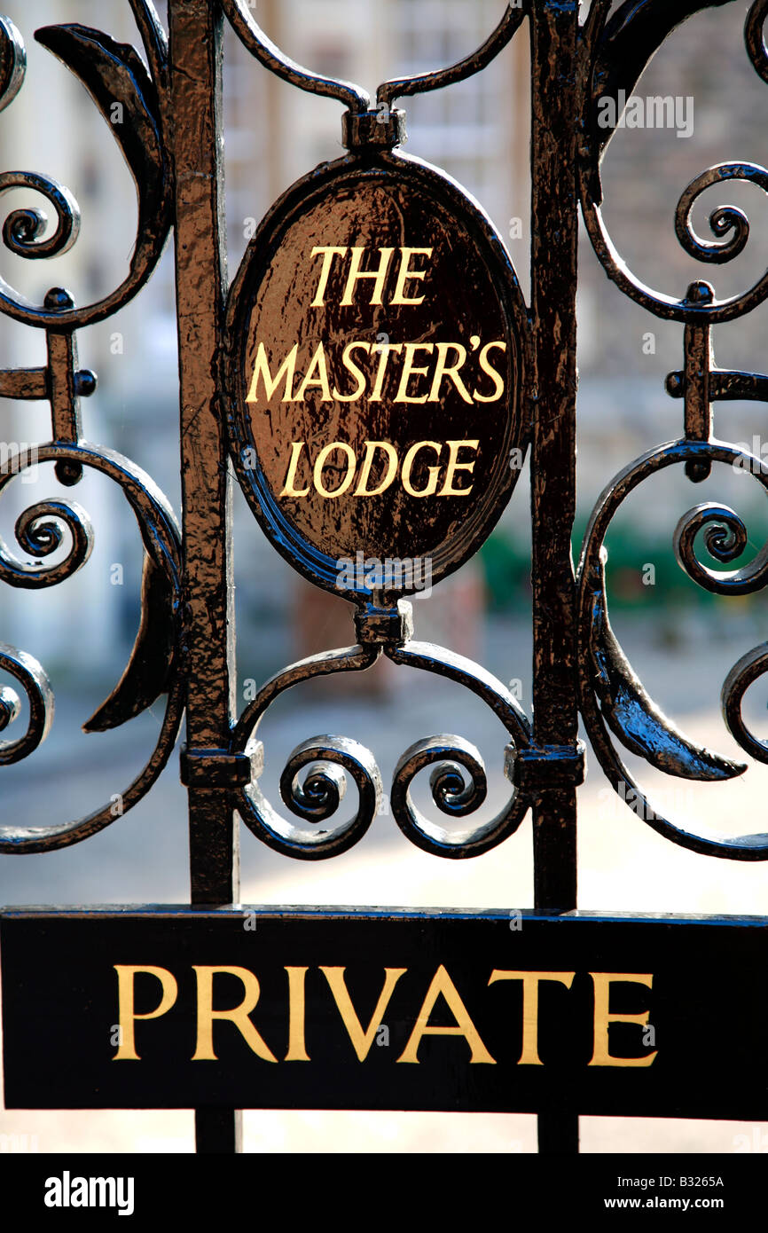 Master Lodge Plaque at Jesus College Cloisters University of Cambridge City Cambridgeshire England Britain UK Stock Photo