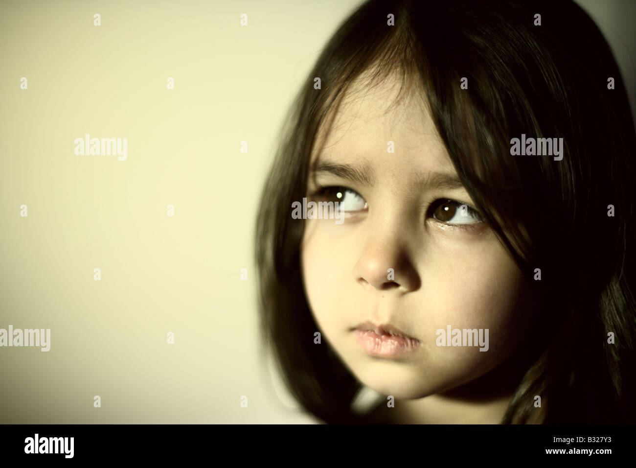Portrait of five year old girl - Stock Image
