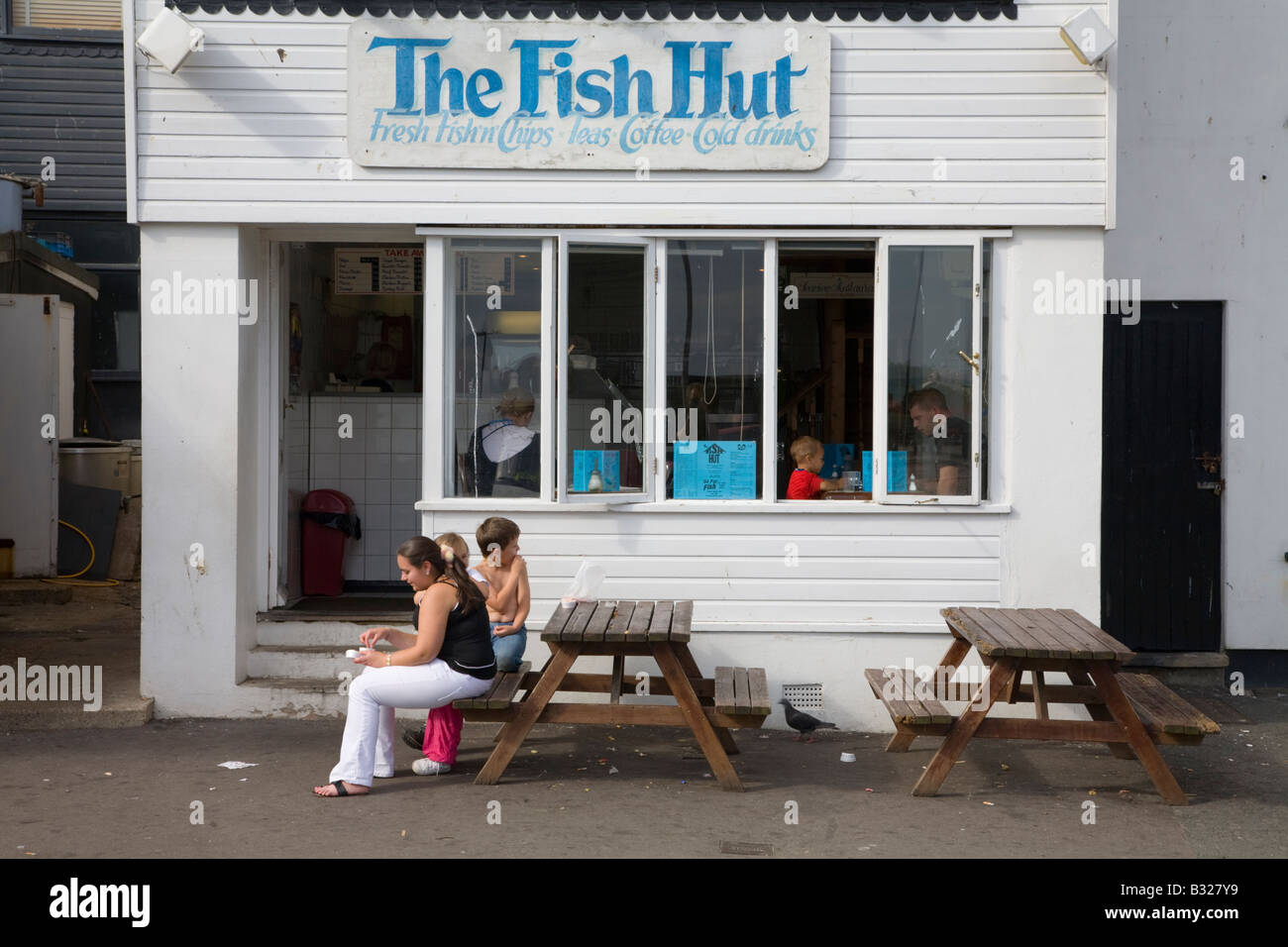 Fish and chip restaurant, Rock-a-Nore area, Hastings, East Sussex, England - Stock Image