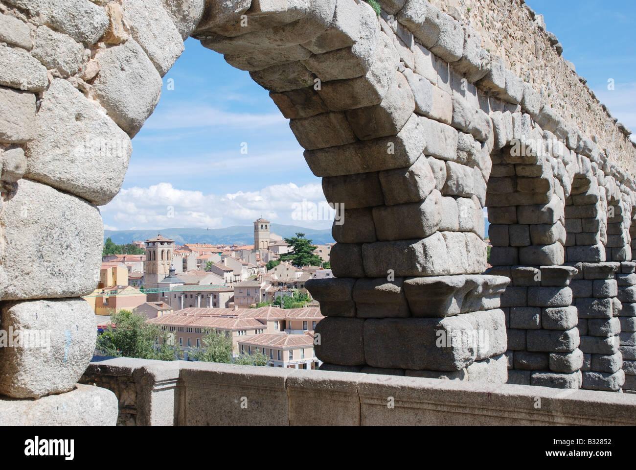Detail of the Roman Aqueduct. Segovia. Castile-Leon. Spain. - Stock Image