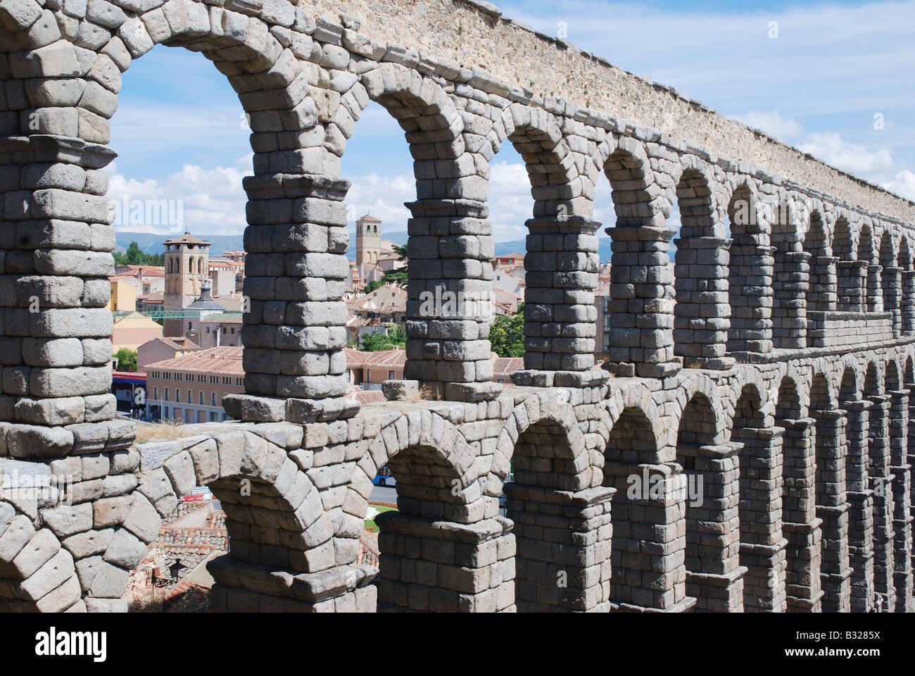 The Roman Aqueduct. Segovia. Castile Leon. Spain. - Stock Image