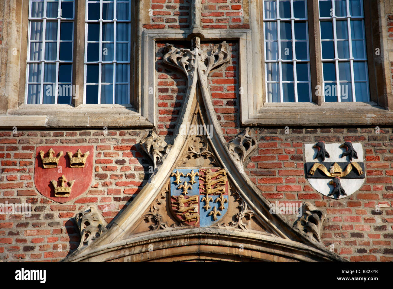 Coat of Arms Jesus College entrance gate University of Cambridge City Cambridgeshire England Britain UK - Stock Image