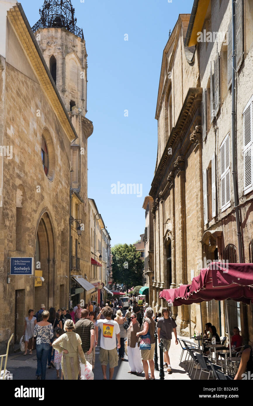 Rue Espariat a narrow shopping street in the historic city centre Aix en Provence France - Stock Image