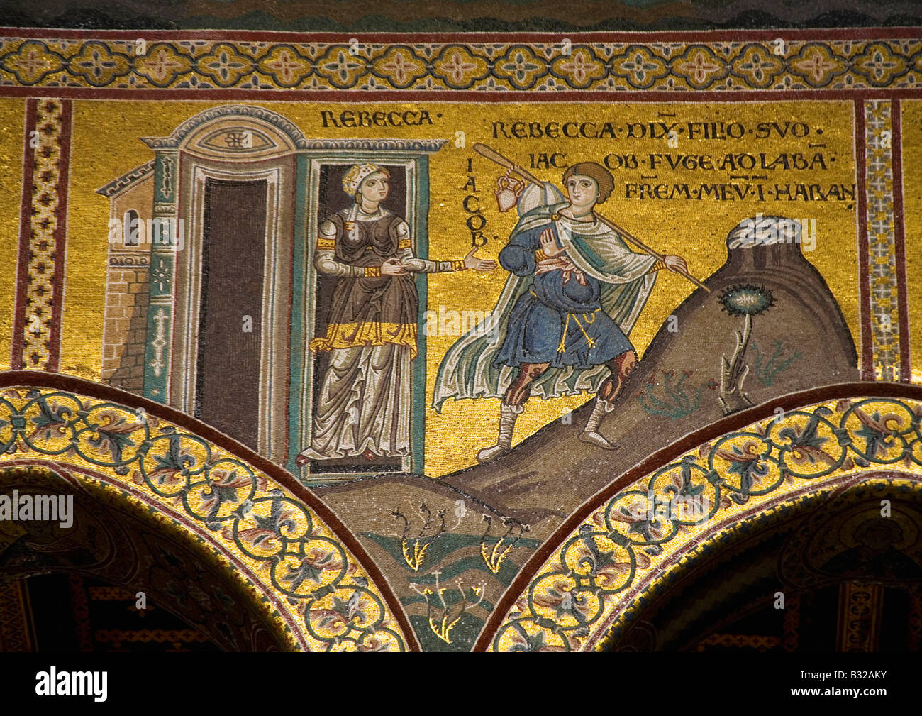 Monreale Cathedral near Palermo interior gold mosaic of Rebecca and her son Jacob Sicily Italy Europe EU Stock Photo