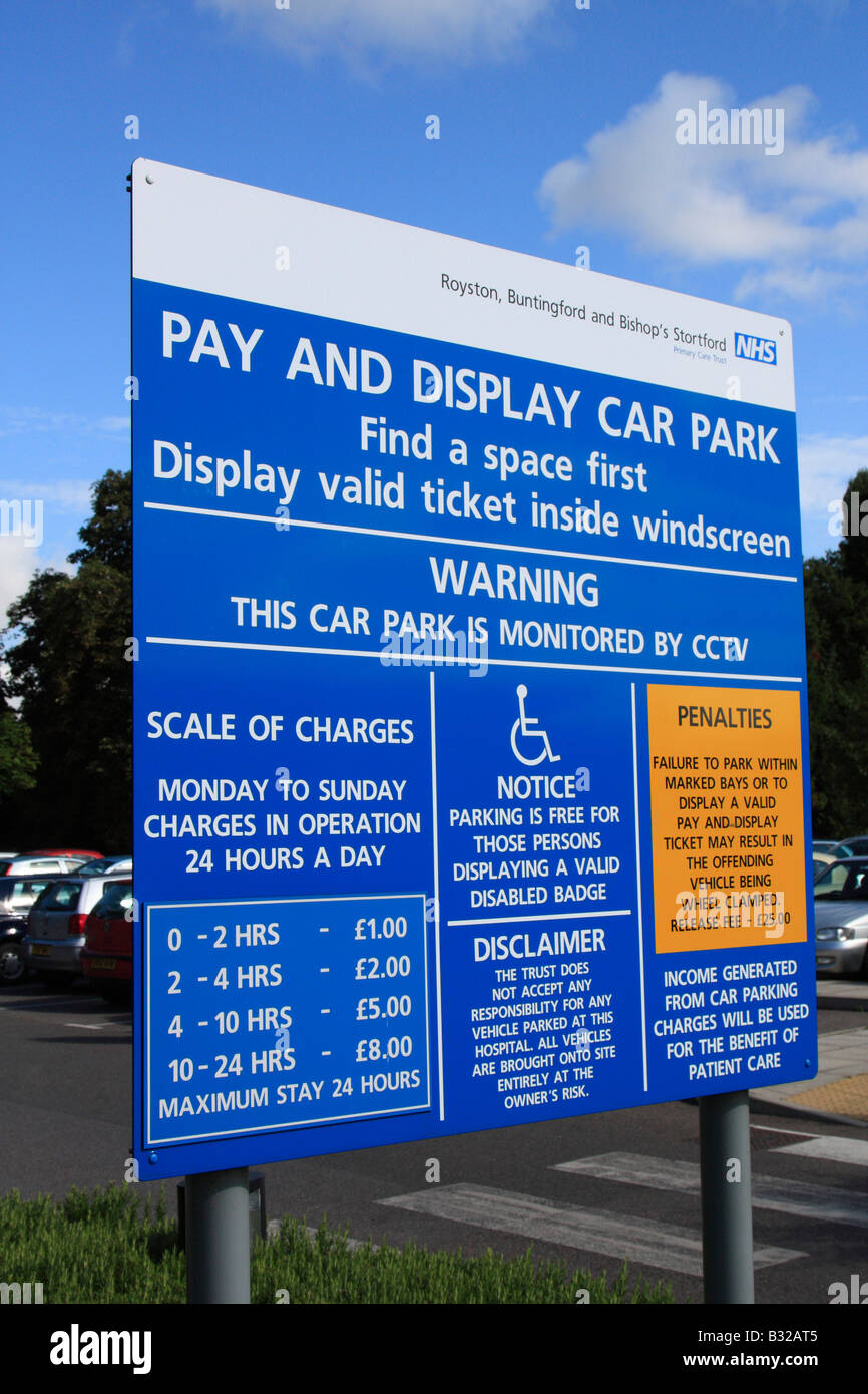 pay & display car park parking tariff herts and essex community NHS hospital bishops stortford herts england - Stock Image