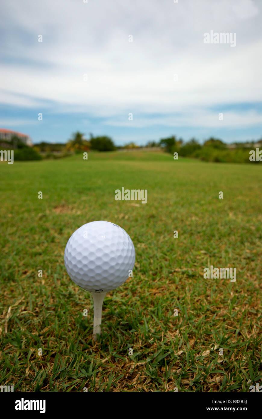 Golf Ball On Fairway Varadero Cuba - Stock Image