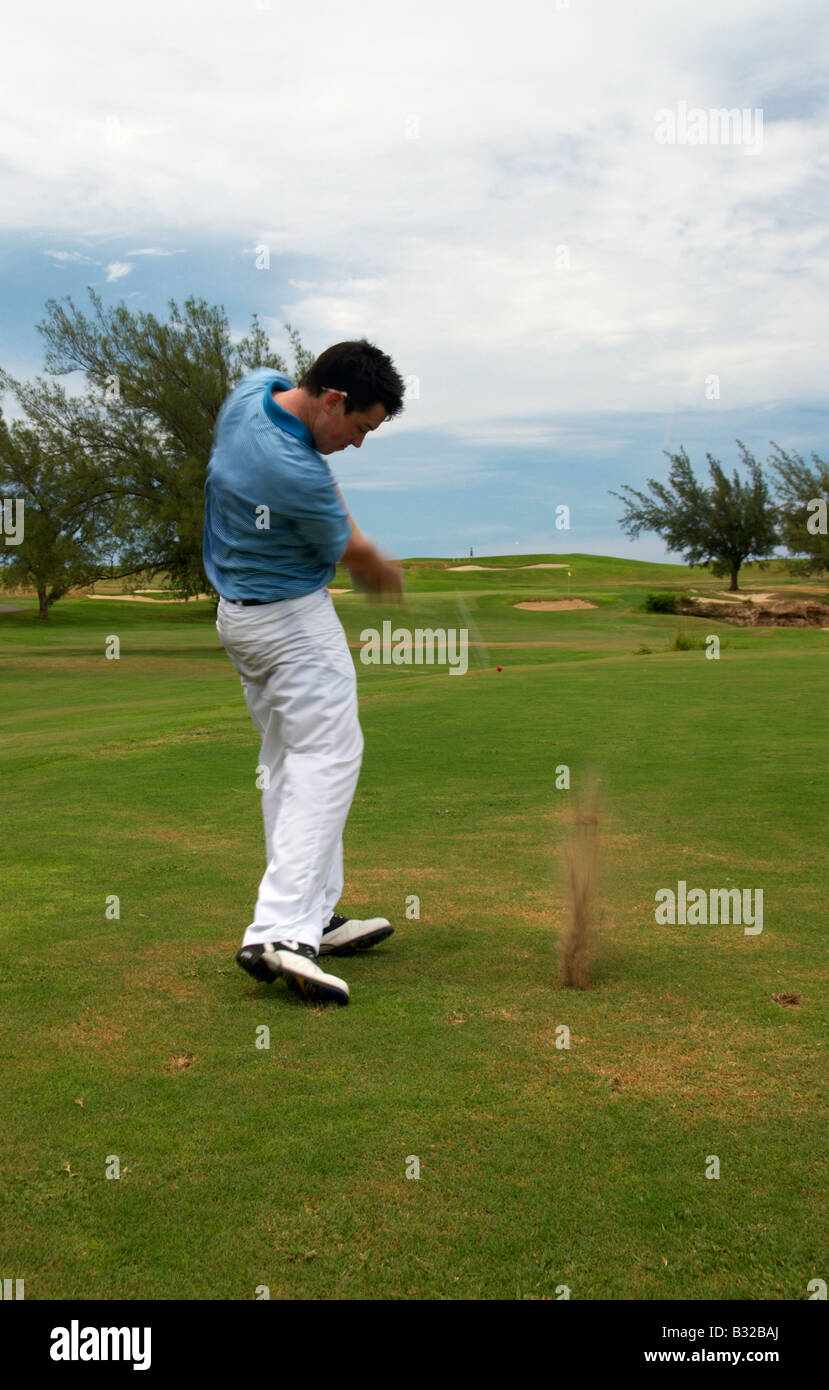 Golfer Playing Fairway Shot Varadero Cuba - Stock Image