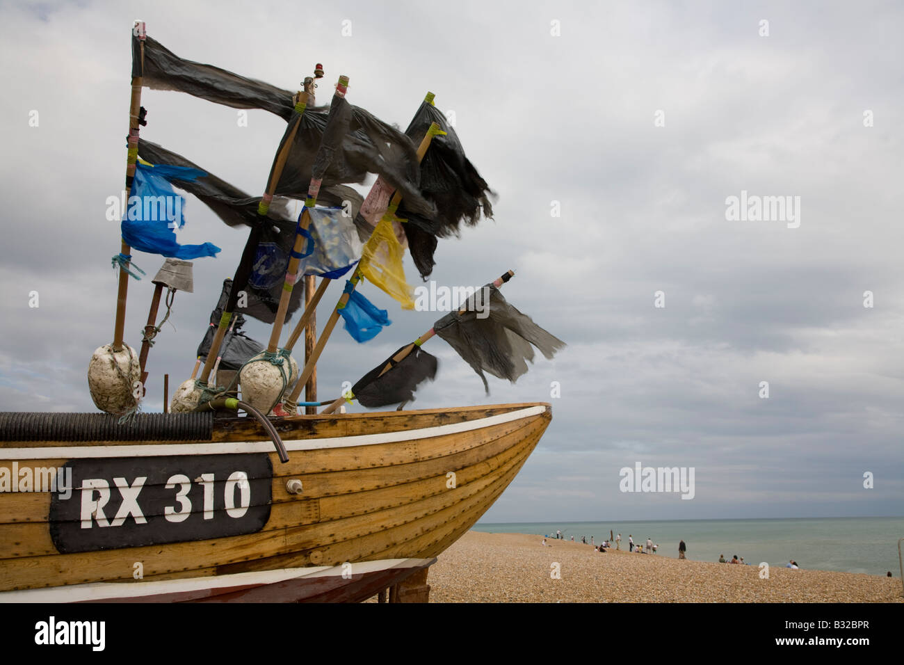 Fishing boat, Rock-a-Nore area, Hastings, East Sussex, England - Stock Image