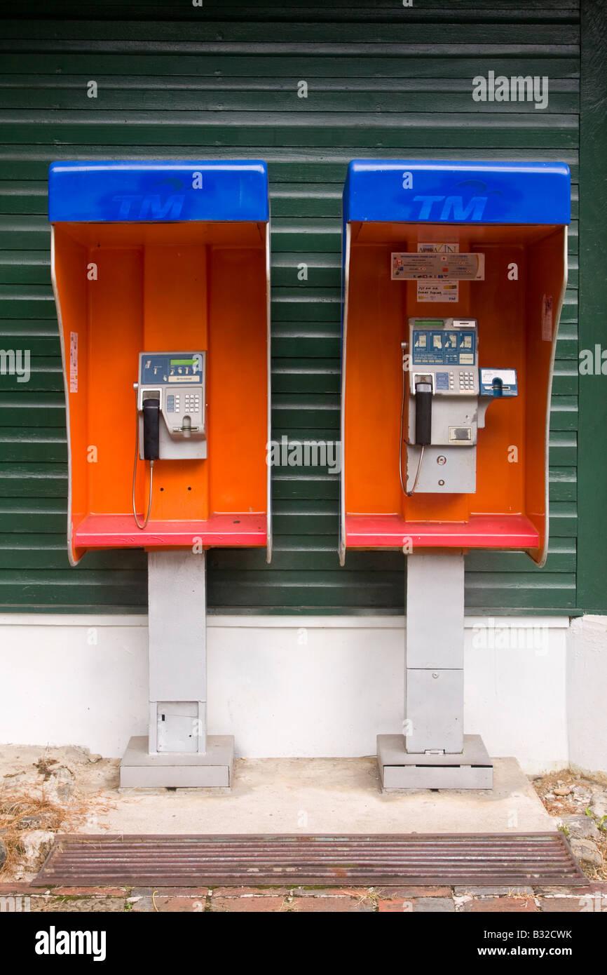 Telephone kiosks Borneo - Stock Image