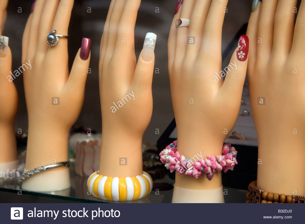 window display for nail extension and jewelry Stock Photo: 19108936 ...