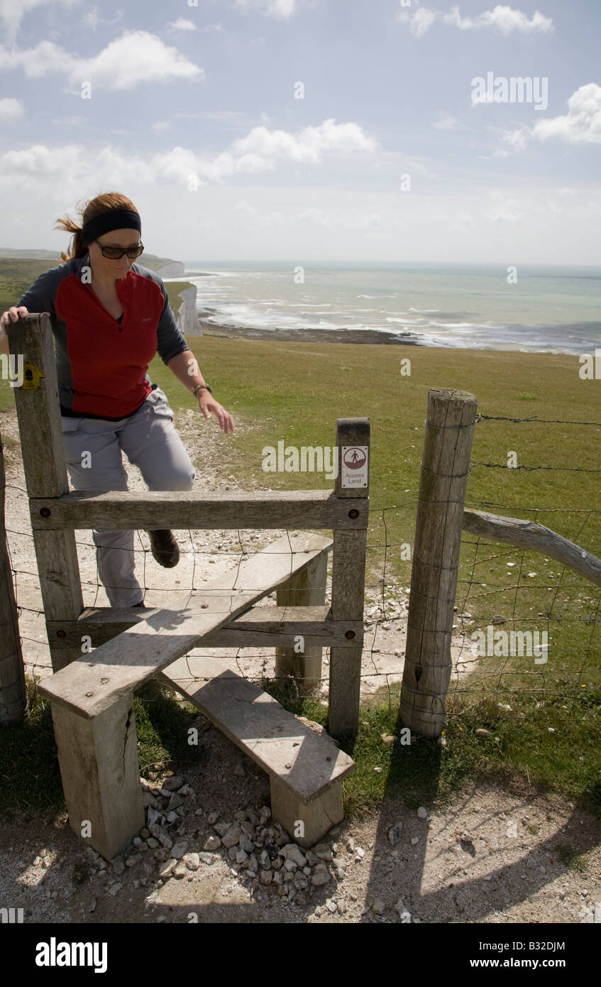 South Downs Way near Beachy Head, East Sussex, England - Stock Image