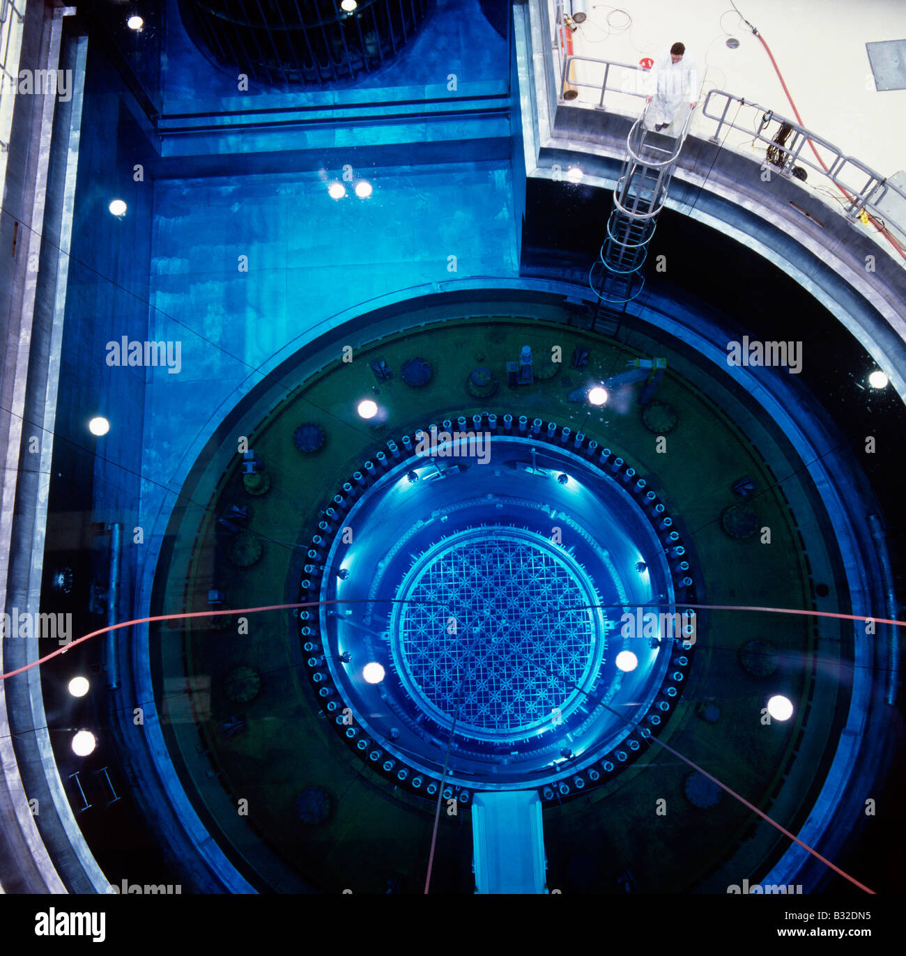 View down into the reactor vessel of a nuclear power plant - Stock Image