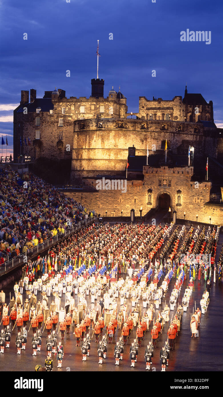 The Edinburgh Military Tattoo on the esplanade of Edinburgh Castle, Edinburgh, Scotland, UK Stock Photo