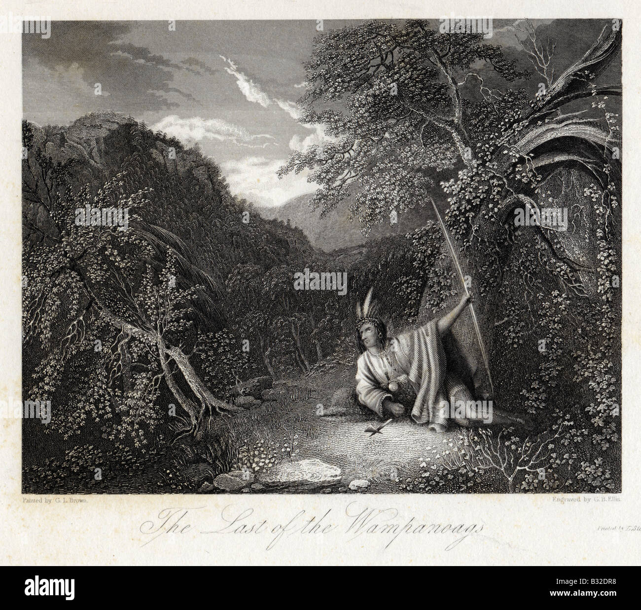 'The Last of the Wampanoags' by G.I. Brown, engraved by G.B. Ellis, circa 1850 antique engraving. - Stock Image