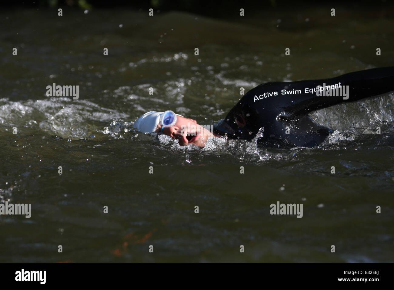 triathlete swimmer - Stock Image