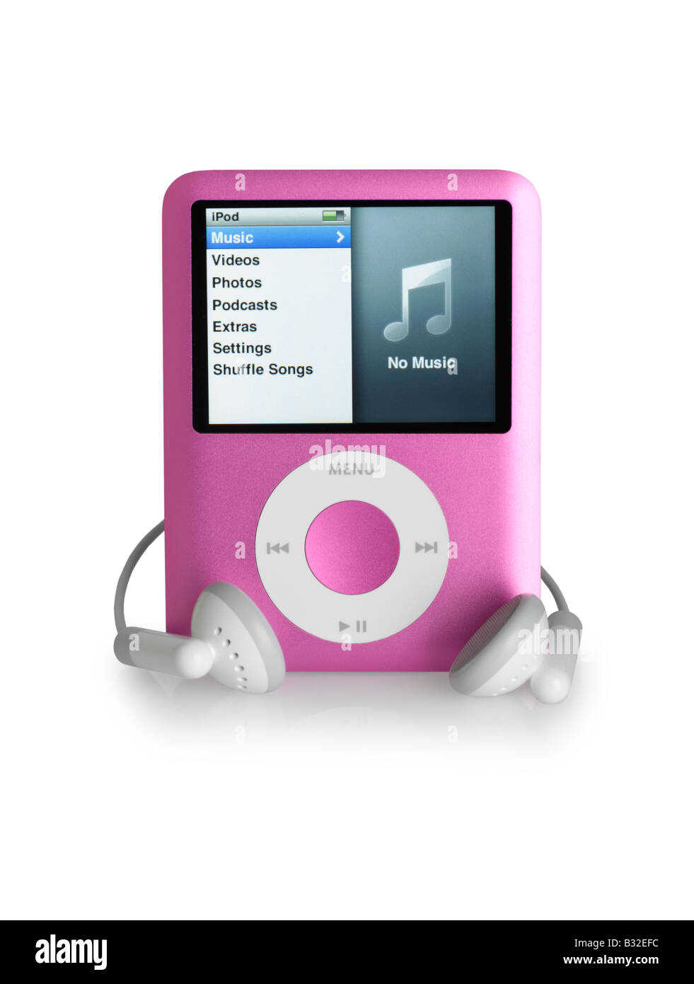 Pink iPod Nano and Earbuds cut out on white background - Stock Image