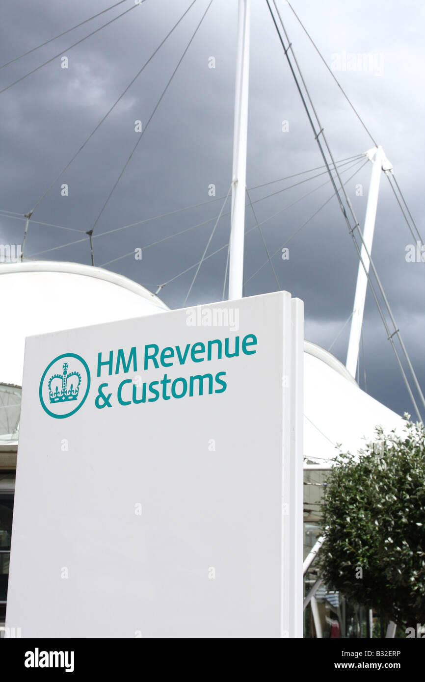 HM Revenue & Customs sign outside a local area office. - Stock Image