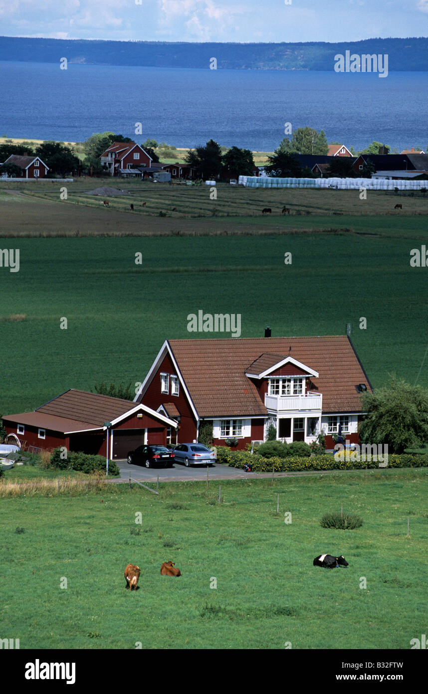 Sweden Visingso island bird eye view of cottage and lake - Stock Image