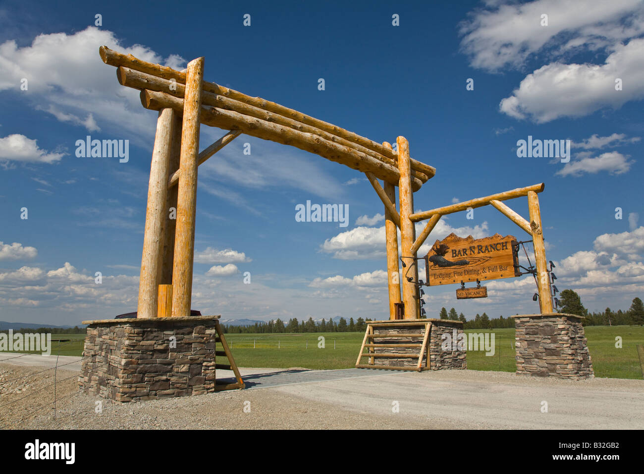 Entry sign to BAR N RANCH which is a guest ranch with fine food and accommodations WEST YELLOWSTONE MONTANA - Stock Image