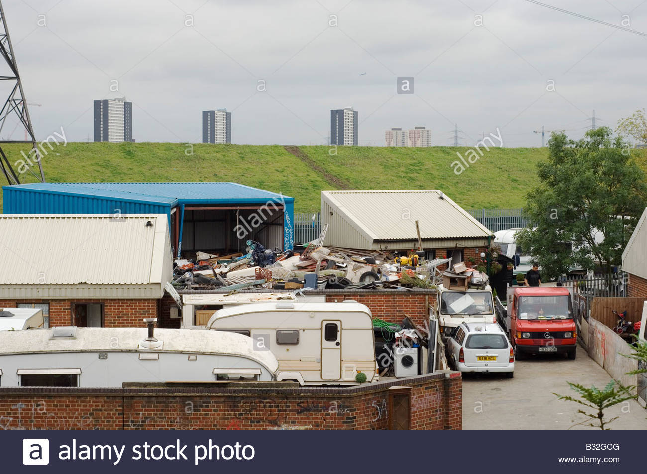 Traveller site at the planned location of the Olympic Village for the 2012 Olympic Games in Stratford east London - Stock Image