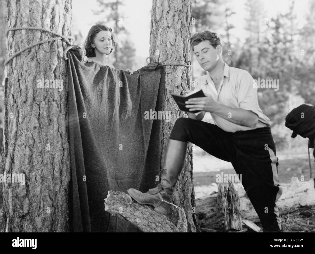 Roughing it in the woods - Stock Image