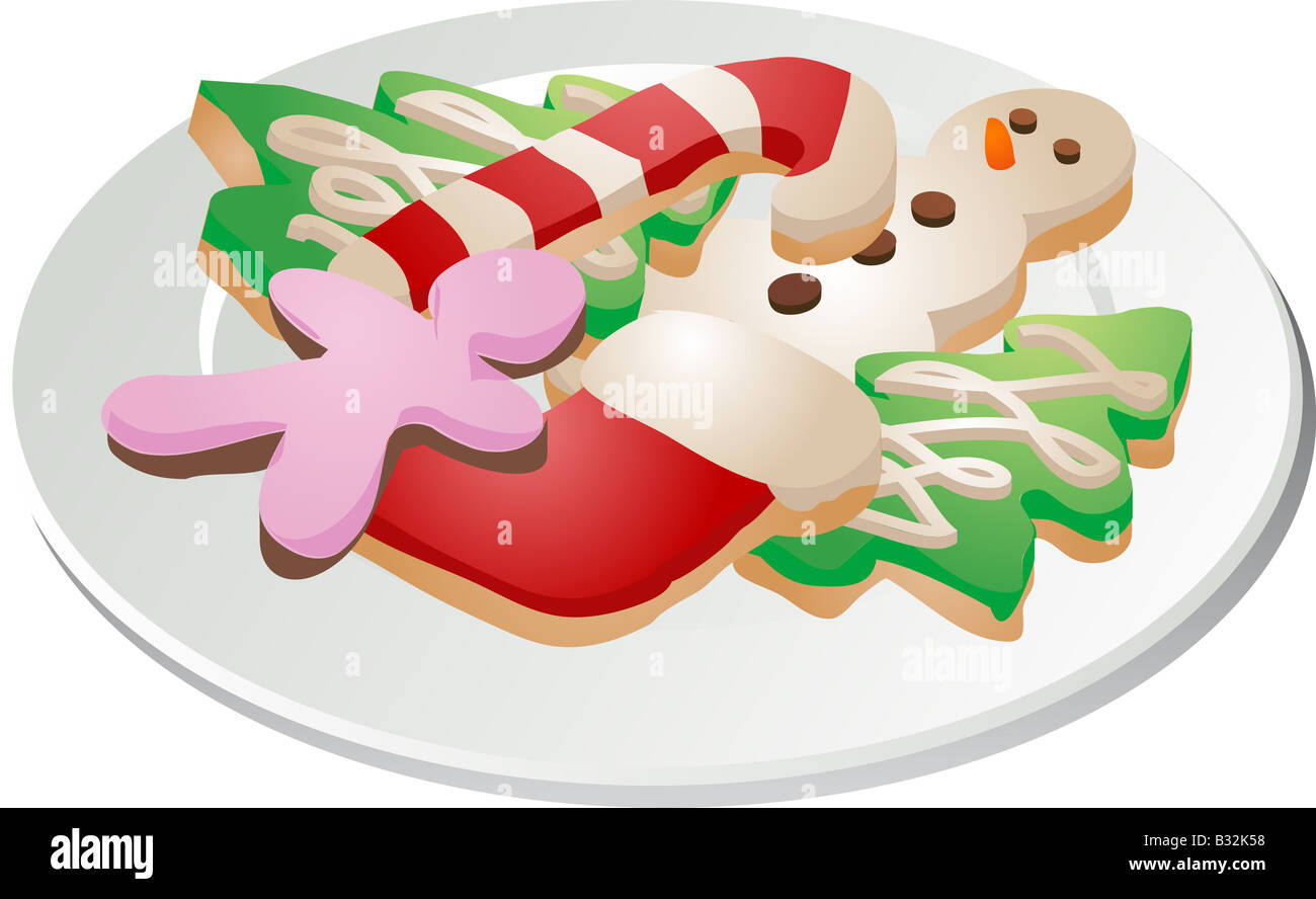 Assorted Christmas Cookies Arranged On A Plate Isometric