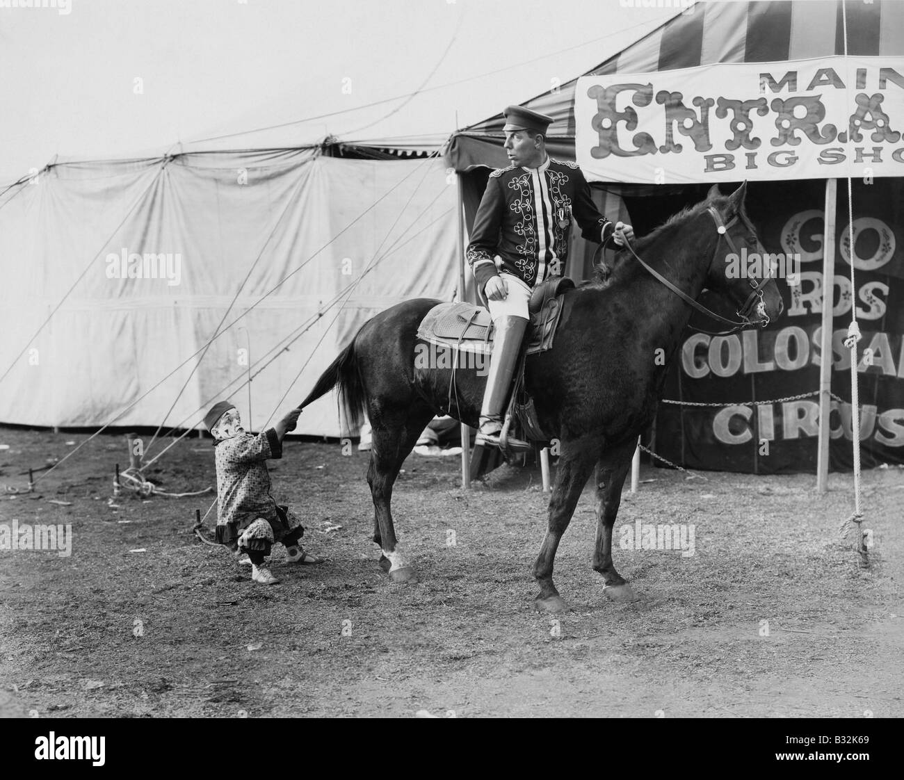 Circus performer pulling horses tail - Stock Image