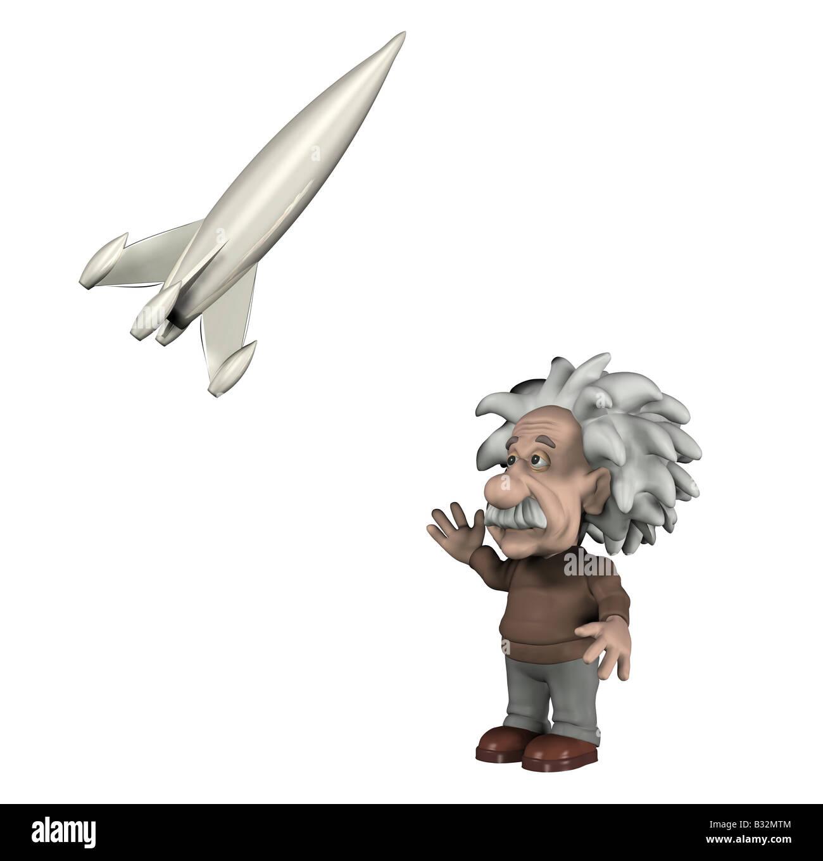 Albert Einstein with a rocket - Stock Image